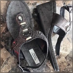"SIMPLY VERA""CECIL""Beaded Sandals Thongs Dress 8.5"